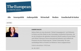 The European Online Debatten Magazin. Madame Sabine Balve official listed as Author.