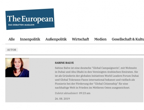The European Online Debatten Magazin. Madame Sabine Balve official listed as Author.