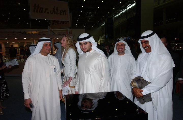 The son of H.H. Sheik Mohammed bin Rashid al Maktoum and Billionairs friends Tawhid Abdulla and Bin Hendi visit Madame Sabine Balve at the Exhibitions stand in Dubai, UAE